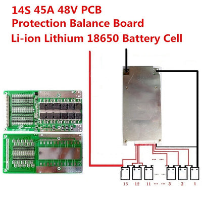 14S 48V 45A Li-ion Lithium 18650 Battery Cell BMS PCB Protection Balance Board Module