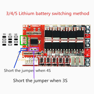 5S 50A 18V BMS Board/ 55A 3.7V Lithium battery protection board with Balance