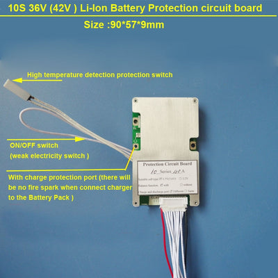 10S 40A 36V BMS constant discharge current and bms with on off switch for lithium 18650 or Lipo Battery BMS