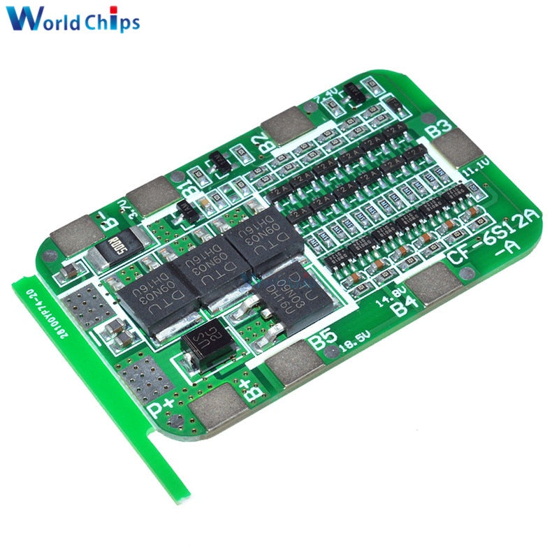 6S 15A 24V BMS Protection Board For 6 Pack 18650 Li-ion Lithium Battery Cell Module New Arrival