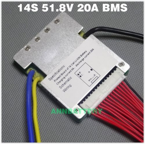 14S 52V 20A BMS Continuous 18650  ebike Li-ion Battery