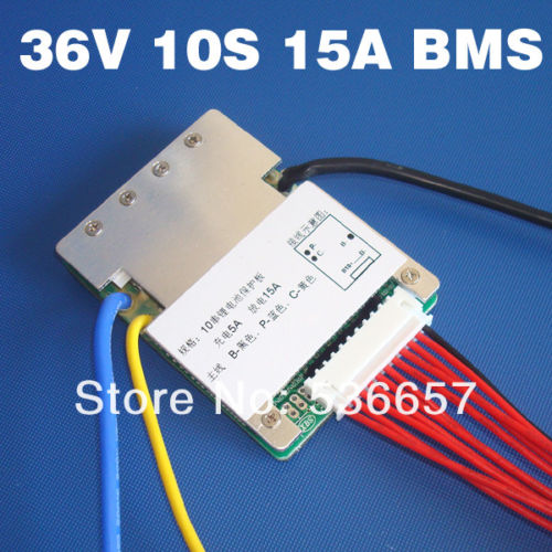 10S 36V 15A lithium battery BMS balance function 18650 Li-ion