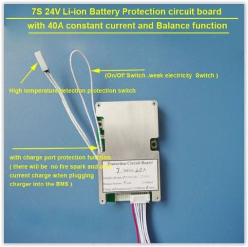 7S 24V 40A lithium ion Li-ion BMS on off switch 18650 battery UK seller stock