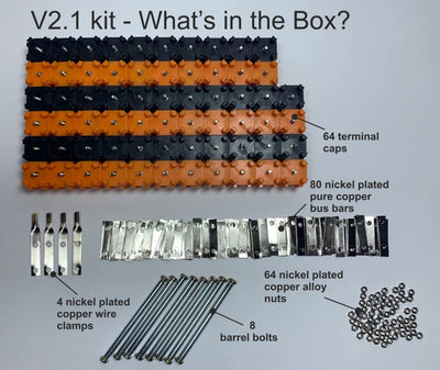 NEW!! Vruzend V2.1 DIY Solderless 18650 Battery Holder, Barrel Bolts, Deeper Caps. No Spot Welding. Colour Coded Kit
