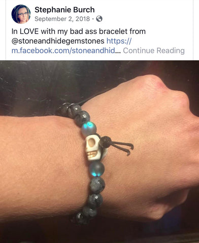 positive customer review good feedback from woman who loves her new flashy quartz crystal bracelet with skull from stone and hide jewelry