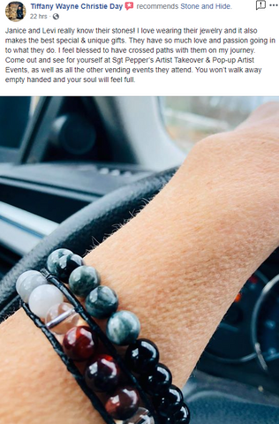 positive customer review lady loves her new red and gray leather crystal bracelet from stone and hide jewelry
