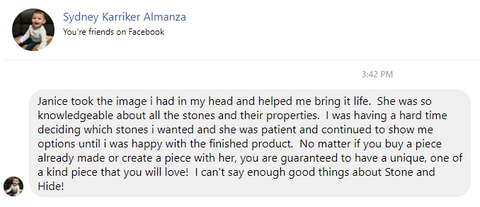 positive customer review lady loves custom bracelet order fulfilled by stone and hide crystal healing solutions