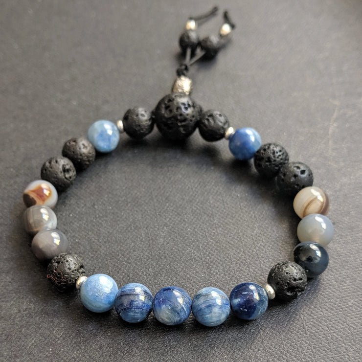 gemstone bracelet with 8mm blue kyanite with Botswana agate, aromatherapy essential oil diffusing lava beads and 925 sterling silver spacer beads