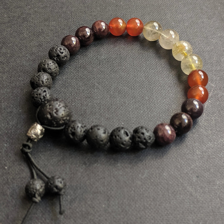 fire ombre crystal aromatherapy bracelet for vitality, creativity