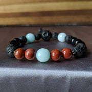 Black agate with aqua blue amazonite, bright red Jasper, essential oil diffusing lava beads and sterling silver accents freindship bracelet