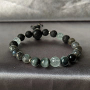 8mm AAA grade aquamarine, labradorite, cat eye chrysoberyl and essential oil diffusing lava beads with sterling silver accents stretch bracelet