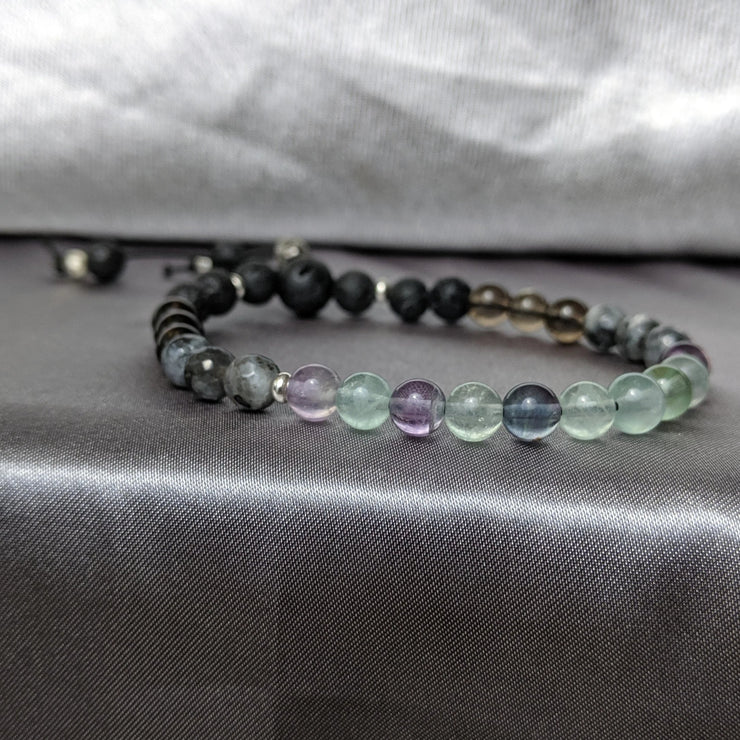 labradorite, essential oil diffusing lava beads and sterling silver accents gemstone beaded bracelet