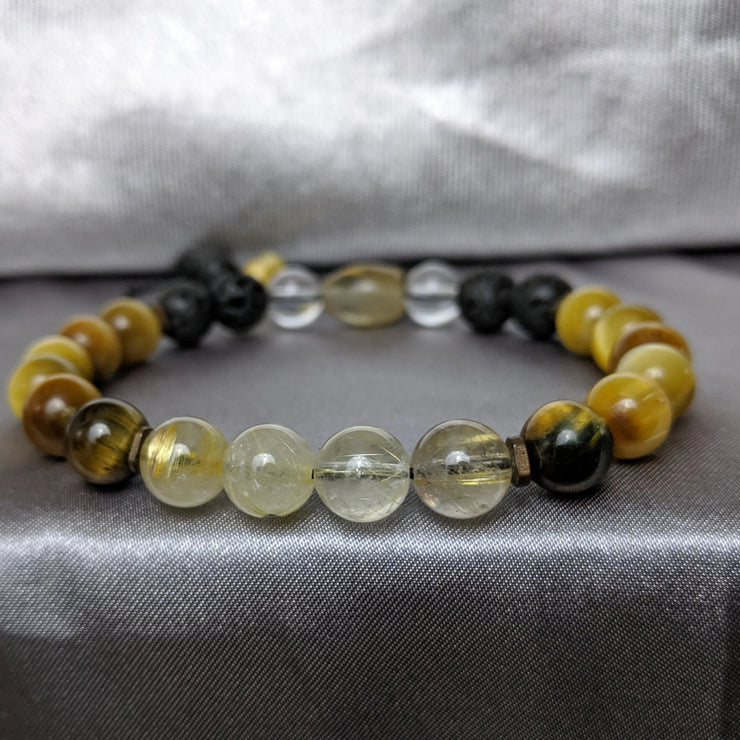 Gold tiger eye with rutile quartz, copper spacers and lava rock essential oil diffusing bracelet