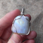 sterling silver wire wrapped rainbow moonstone pendant necklace
