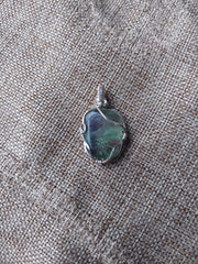 Rainbow Fluorite hand  wrapped pendant in 925 sterling silver wire