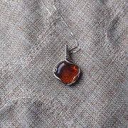Sterling silver wire wrapped Genuine amber pendant necklace