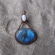 Flashy blue fire labradorite and rainbow moonstone hand wrapped in copper wire