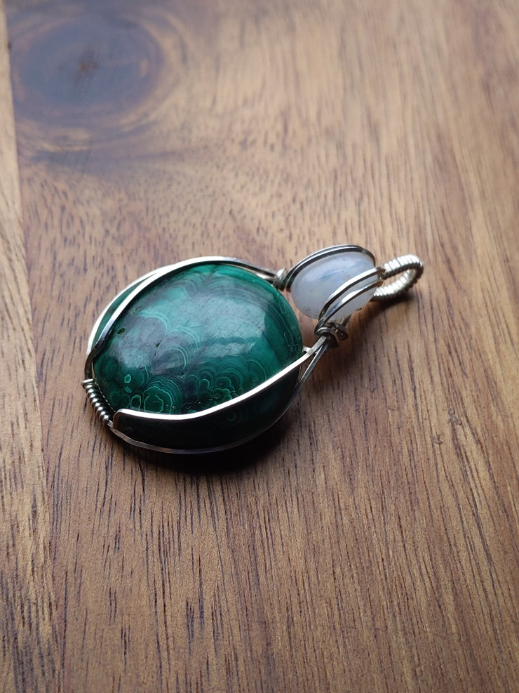 malachite and rainbow moonstone sterling silver pendant necklace