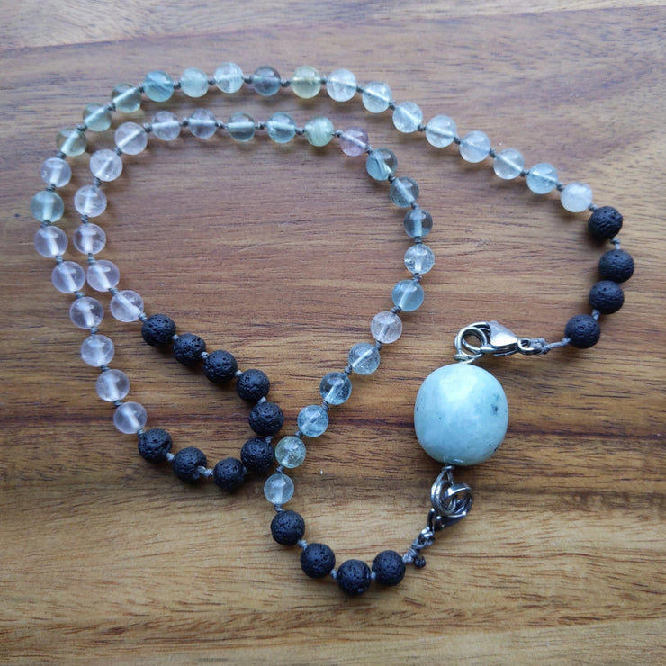 aquamarine, fluorite and madagascar rose quartz beaded necklace or wrap bracelet