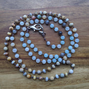 Sand and surf gemstone mala necklace
