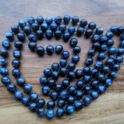 midnight blue kyanite intention 108 bead mala necklace