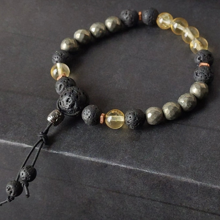 8mm yellow citrine and golden pyrite with essential oil diffusing lava rock and copper spacer beads