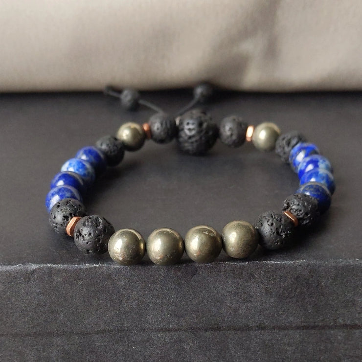 8mm lapis lazuli and golden pyrite with essential oil diffusing lava rock and copper spacer beads