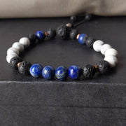 8mm vibrant blue lapis lazuli and white howlite with essential oil diffusing lava rock and copper spacer beads