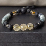 8mm hawk eye/ tiger eye and gold rutile quartz with essential oil diffusing lava rock and sterling silver spacer beads