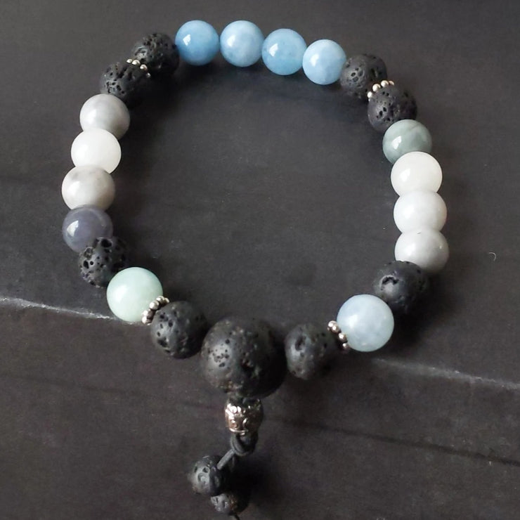 Aquamarine and hawk eye aromatherapy bracelet