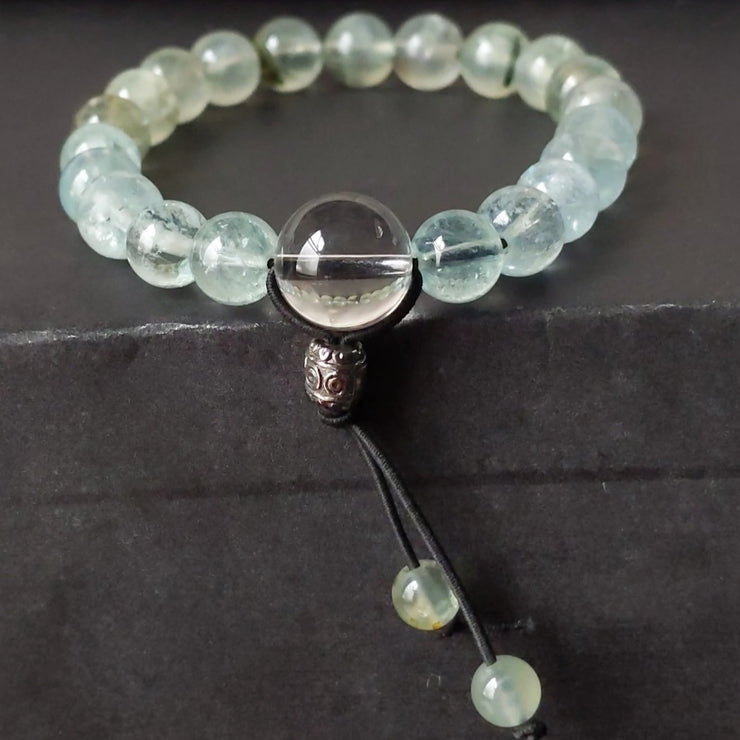 green prehnite blue aquamarine stretch bracelet