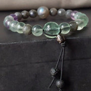 green fluorite blue grey labradorite stretch bracelet protection