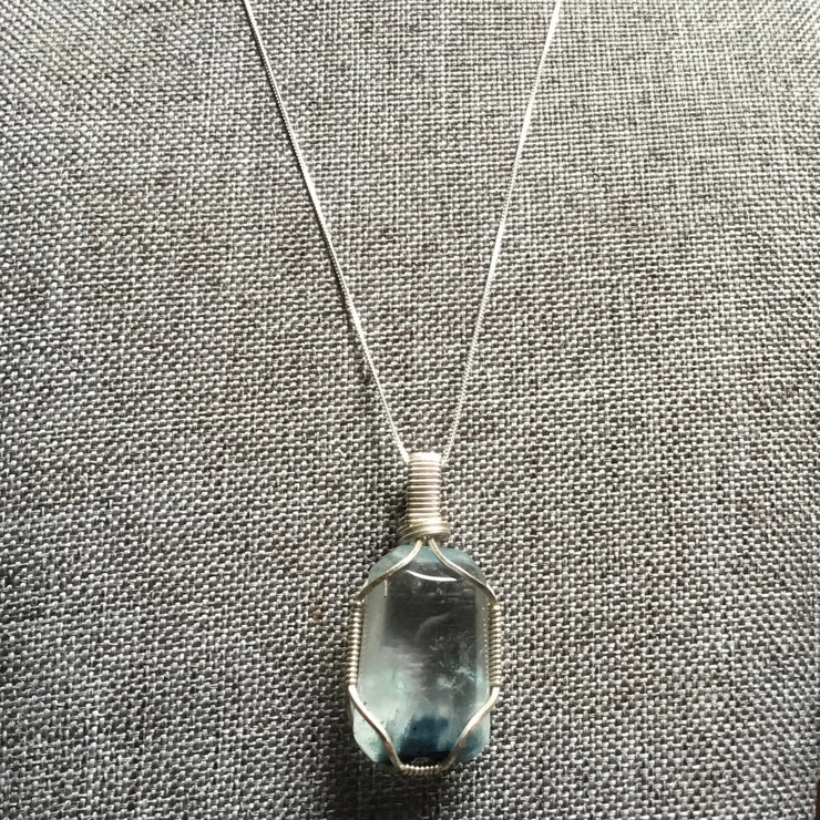 Sterling silver wire wrapped blue crystal pendant necklace