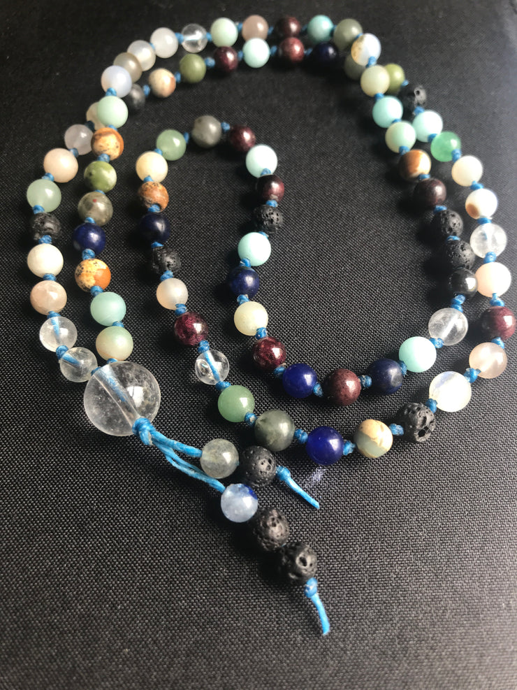 Mixed gemstone wabi sabi knotted crystal necklace