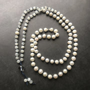 Moonstone and freshwater pearl bridal mala necklace