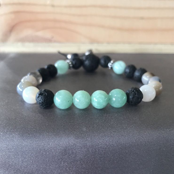 bracelet with 8mm mint green Burmese jade, Botswana agate, and essential oil diffusing lava rock beads with sterling silver accents.
