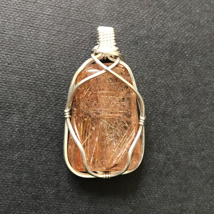 Sterling silver wire wrapped gold hair rutile pendant necklace
