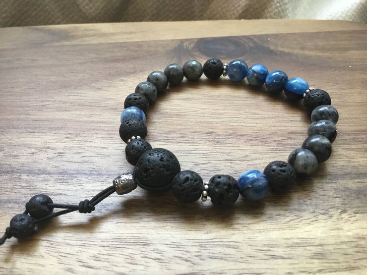 Aromatherapy Bracelet of Intuition - kyanite, labradorite, sterling silver
