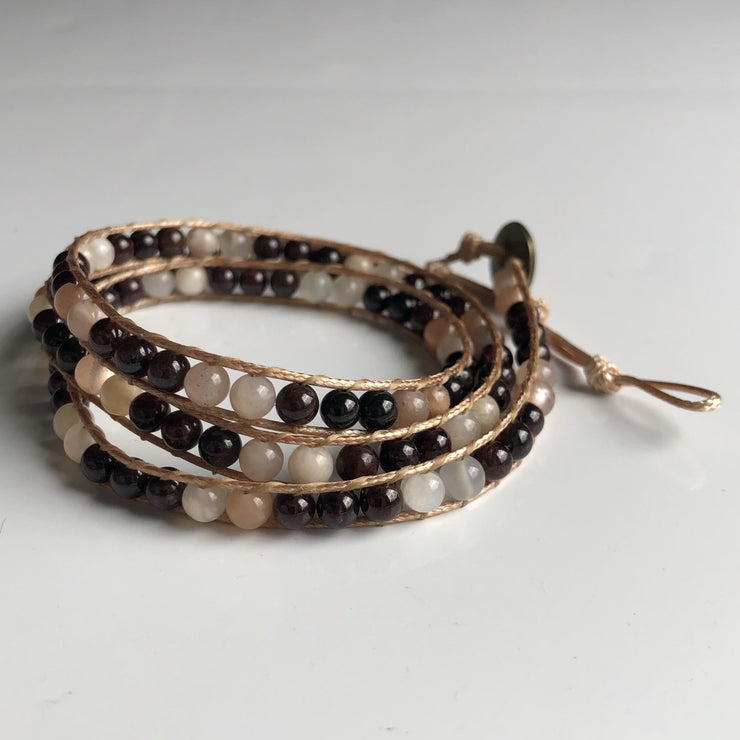 Garnet with moonstone triple wrap bracelet