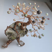 Moss green Jade and Epidote crystal tree