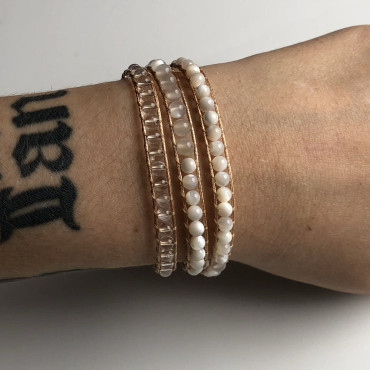 white bridal jewelry wrap bracelet pearl quartz moonstone