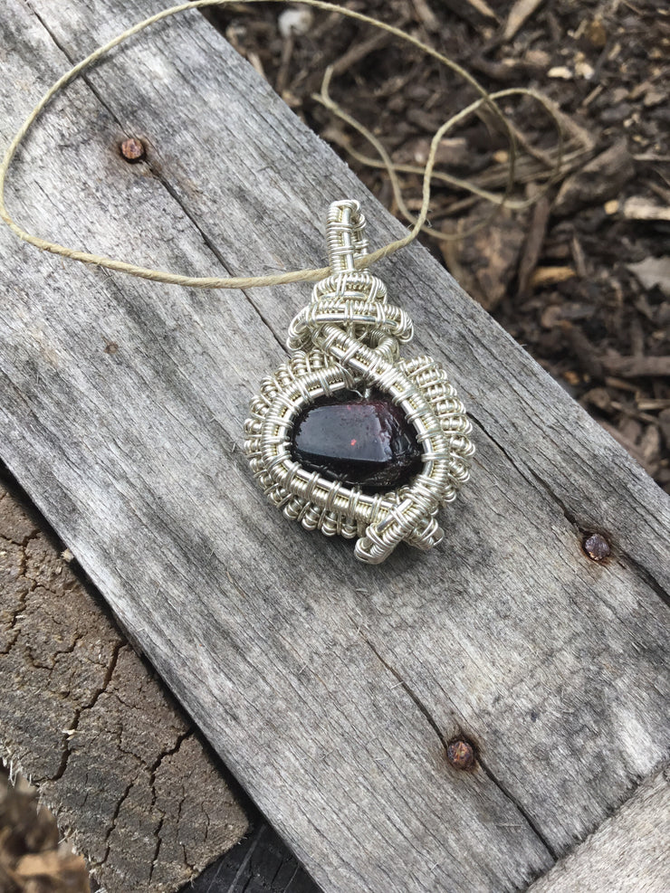 red garnet natural gemstone crystal hand wrapped in 925 sterling silver wire pendant