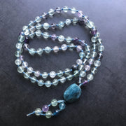 Rainbow fluorite crystal hand knotted necklace with blue apatite guru bead