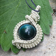 blue gren hawkeye gemstone crystal pendant hand wrapped in 925 strling silver wire