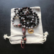 Grey hawk eye with red Jasper and lava rock mala necklace