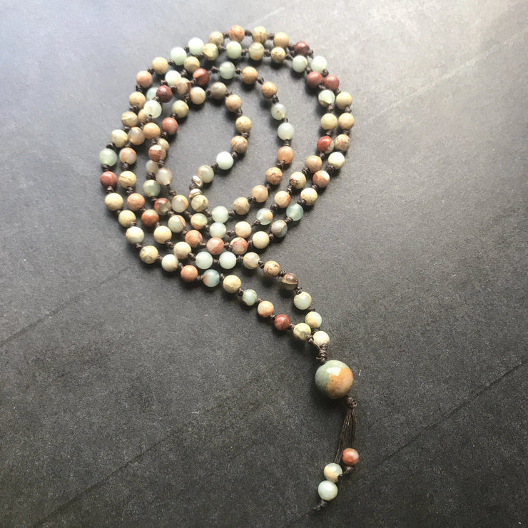 Ocean jasper earth tone grounding mala necklace