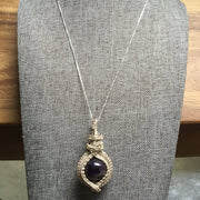 Sterling silver wire wrapped Natural Amethyst gemstone pendant necklace