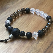 8mm smoky and rose quartz with essential oil diffusing aromatherapy lava beads and sterling silver accents crystal bracelet
