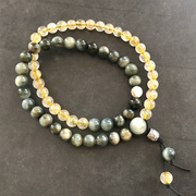 Gold rutile quartz with tiger eye double wrap bracelet