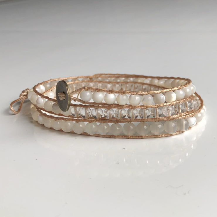 White bridal triple wrap bracelet: pearl, moonstone, clear quartz